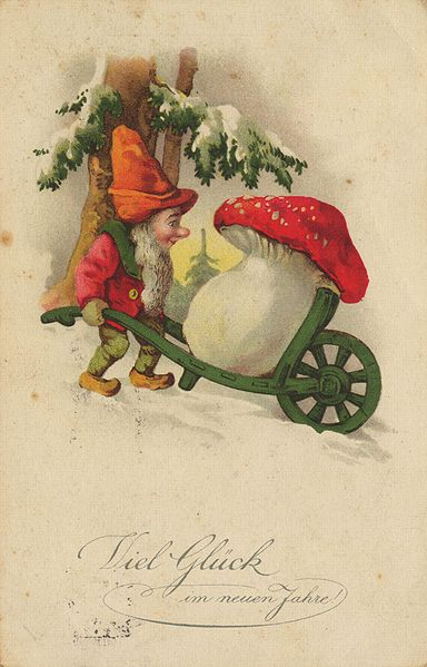 Gnome New Year postcard
